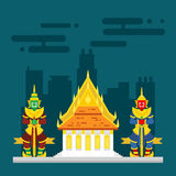 Thailand temple with two giants guarding. Illustration Stock Image