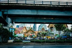Thailand temples under bridge. Thailand temples under the bridge Stock Images