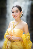 Thailand Thailand pretty girl in a traditional backdrop of beaut Stock Photos