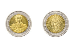Thailand tio baht mynt 2012 100 år av kommandot och general Sta Arkivfoton