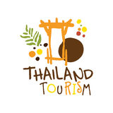 Thailand tourism logo template hand drawn vector Illustration Stock Image