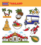 Thailand tourism travel landmarks and Thai culture tourist famous symbols vector icons. Thailand tourism travel landmarks and tourist culture attraction symbols Royalty Free Stock Photo