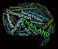THAILAND tourist destinations info text graphics. And arrangement concept (word clouds) on black background Royalty Free Stock Image