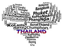 THAILAND tourist destinations info text graphics. And arrangement concept (word clouds) on white background Stock Photos