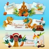 Thailand Touristic Banners Set Stock Photos