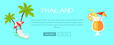 Thailand Touristic Flat Style Vector Web Banner. Thailand touristic web banner. Beach chaise lounge with umbrella near palms and citrus cocktail flat vector vector illustration