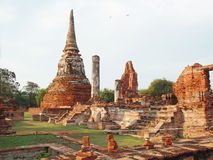 Thailand touristic place. Ancient temple ruins in thailand touristic place ayutthaya stock photo