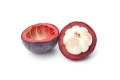 Thailand trägt Mangostanfrucht auf weißem Hintergrund Früchte Lizenzfreie Stockfotografie