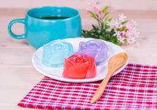 Thailand tradition ,Flower Dessert  Jelly on wood Royalty Free Stock Images