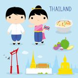 Thailand Tradition Food Place Travel Asia Mascot Boy and Girl Cartoon Vector royalty free illustration