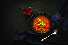 Thailand traditional cuisine, Red curry, curry soup, street food, dark food photography Royalty Free Stock Photography