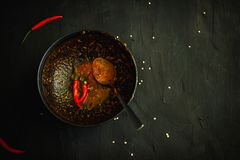 Thailand traditional cuisine, Red curry, curry soup, street food, dark food photography Asian food Stock Photos
