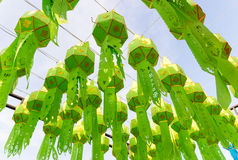 Thailand traditional decorating green paper lantern Stock Photography