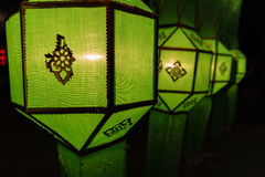 Thailand traditional decorating green paper lantern Royalty Free Stock Photos