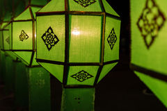 Thailand traditional decorating green paper lantern Royalty Free Stock Photo