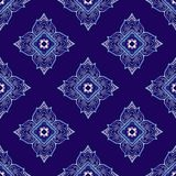 Thailand traditional ornament element repetitive seamless pattern with Porcelain indigo blue. And white background vector illustration
