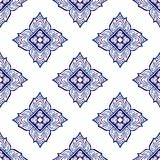 Thailand traditional ornament element repetitive seamless pattern with Porcelain indigo blue. And white background stock illustration