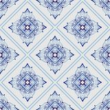 Thailand traditional ornament element repetitive seamless pattern with Porcelain indigo blue. And white background royalty free illustration