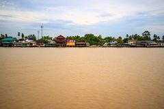 Thailand traditional riverside village near Bangkok Stock Photo