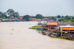 Thailand traditional riverside village near Bangkok Stock Photos