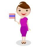 Thailand traditionell dräkt, flicka, ASEAN arkivfoton