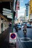Thailand traffic signs in China town stock photos