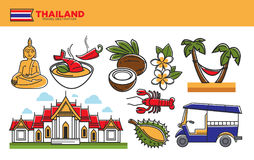 Thailand travel destination promotional poster with cultural symbols Royalty Free Stock Photography