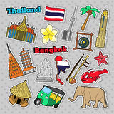 Thailand Travel Elements with Architecture for Badges, Stickers, Prints Royalty Free Stock Photo