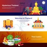 Thailand Travel Horizontal Banners Set Royalty Free Stock Photography
