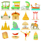 Thailand travel icons set, cartoon style. Thailand travel icons set. Cartoon illustration of 16 Thailand travel vector icons for web Stock Photos