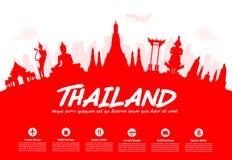 Thailand Travel Landmarks. stock illustration