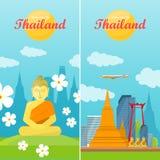 Thailand Travelling Banner. Thai Landmarks Royalty Free Stock Photography