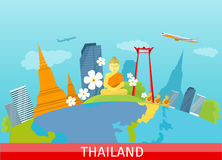 Thailand Travelling banner. Thai Landmarks. Stock Photo