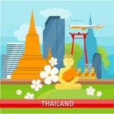 Thailand Travelling banner. Thai Landmarks. Stock Images