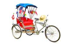 Thailand trehjuling, gammal stil för tappning som dekoreras med flaggan av Thailand, och ASEAN på isolerad vit bakgrund arkivfoton