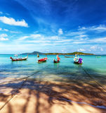 Thailand tropical beach exotic landscape. With wooden boats Royalty Free Stock Photography
