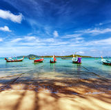 Thailand tropical beach exotic landscape. With wooden boats Royalty Free Stock Photo