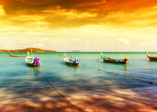 Thailand tropical beach exotic landscape. With wooden boats Stock Image