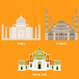 Thailand, Turkey and India travel icons. Country sightseeing symbols, Eastern and Asian landmarks. Flat architecture Stock Photography