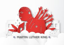 Thailand, Udonthani - January 16, 2019 : Happy Martin Luther King Jr. Day with paper cut and craft style. Vector illustration for. Background, banner, poster royalty free illustration