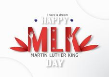 Thailand, Udonthani - January 16, 2019 : Happy Martin Luther King Jr. Day with paper cut and craft style. Vector illustration for. Background, banner, poster stock illustration