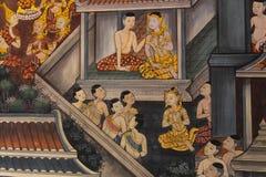 Thailand vägg- vägg i tempel Arkivbilder
