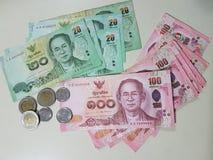 Thailand valuta och mynt Arkivfoton