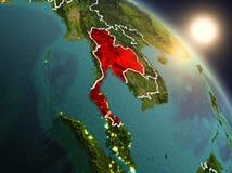 Thailand van ruimte tijdens zonsopgang Stock Foto
