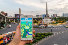 Thailand Victory Monument is a Gym on map in Pokemon Go adventure game Royalty Free Stock Photos