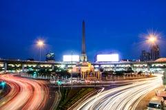 Thailand Victory Monument Landmark von Dämmerung Bangkoks Thailand lizenzfreies stockbild