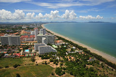 Thailand view of Jomtien and Pattaya bay royalty free stock photography
