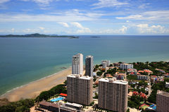 Thailand view of Jomtien and Pattaya bay stock images