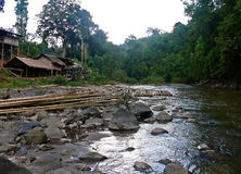 Thailand - Village on the river. A village of thai peasant on a river stock photo