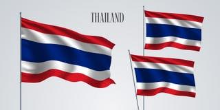 Thailand vinkande flaggauppsättning av vektorillustrationen Royaltyfria Bilder